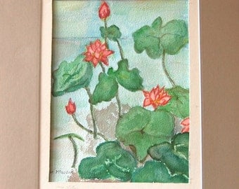 My Lotus original watercolor painting by Miao Yeh, 12x10, floral, portion of proceed supports Parkinson's reserach.