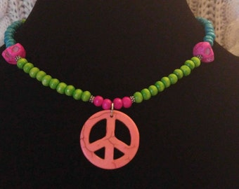 Howlite Peace & Skull Necklace