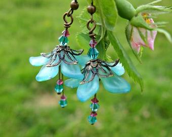 Fairy Earrings, Aqua Earrings, Flower Earrings, Floral Earrings, Blossom Earring, Bridal Earrings, Bridesmaid Gift, Boho Earrings, Swarovski