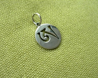 Tibetan Syllable A. Dzogchen. Tibetan Buddhism. Tantric Amulet. Handmade Buddhist Pendant Tibetan Letter Buddhism Vajrayana Necklace. Aum Om