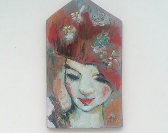 wooden painting face girl 14x8 sm
