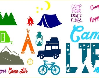SVG Cut File Camp LIFE for Tshirt Tote Silhouette Studio 3 Camping Camp Hair Don't Care,Dxf, Png, PDF