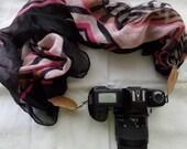 Black Pink Tan And White Pattern Camera Strap Scarf