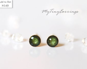 4mm Stud Green Pickle Earrings Round Tiny Epoxy Resin Mini Gift for Her - Stainless Steel Posts 149