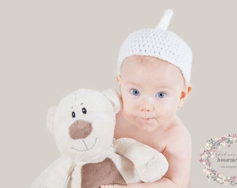 Funny crochet white hat for newborn photography