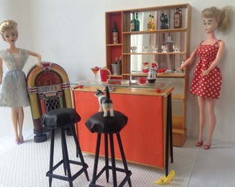 Miniature furniture for Barbie and Blythe etc ,Handmade, design scale 1:6 mid century