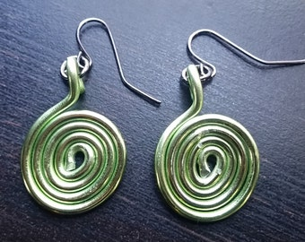 Spiral Wire Dangle Earrings