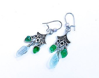 Carousels. Earrings with sea glass.