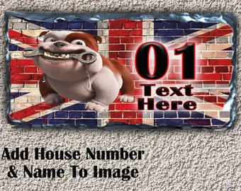 Personalised British Bulldog SL23 Humour Fun Dog Puppy House Slate Plaque Sign Number Text