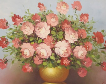 """Original Oil Painting On Canvas Stretched Floral Art Signed 36""""-24"""""""