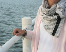 Florence Taupe Cream Floral Yoga Multi Way Infinity Scarf Silver Snaps Women. Reversible active wear.
