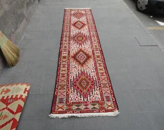 Hallway runner rug,kitchen rug,long rug,Persian noah's ark design rug,animal motif rug,118 x 28 inches