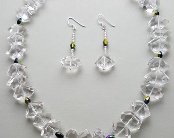 Hand Cut Clear Quartz Crystal Necklace and Earrings Set