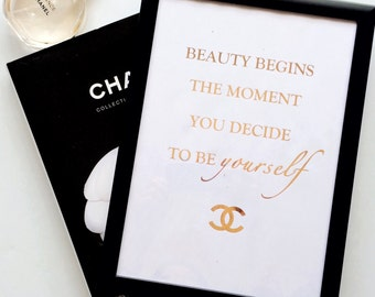 Chanel Print | Coco Chanel | Chanel Quote | Gift For Her | Gift For Women | Foil Prints | Wall Art | Home Decor
