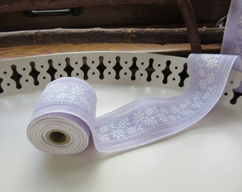 Violet Brocade Daisy Ribbon - Three Yards
