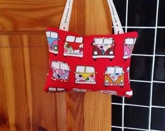 Padded Door Hanger/Fabric Door Hanging/Red/Camper Van print/Camper/VW/Handmade/Gift/Home Decor/Secret Santa