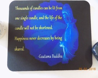 Spiritual Mouse-Pad, One Single Candle Gautama Buddha Mouse pad, Quote Mouse Pad