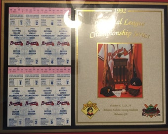 BRAVES 1992 National League Championship Series Program Cover and Tickets Framed