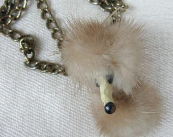 """Vintage 1950s Fur Necklace 50s Mink Fur """"Fox"""" Choker"""