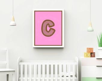 Chevron Letter Nursery Wall Art - Instant Download  - 4 x 6, 5 x 7, 8 x 10, 8.5 x 11, 10 x 13, 12 x 12, 11 x 14