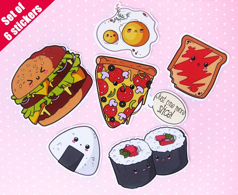 Food stickers. Kawaii. Laptop stickers. Vinyl. Waterproof ...