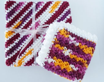 Crocheted Cotton Potholder and Dishcloth Set