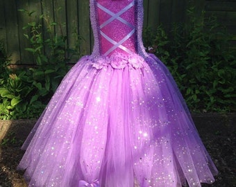 Tangled Princess rapunzel inspired two tier lilac glitter/sequin long tutu princess dress up costume age 1-3,4-6,7-9,10-12 years