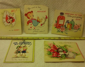 Vintage Get Well Cards, Lot of 5, Pop-Ups