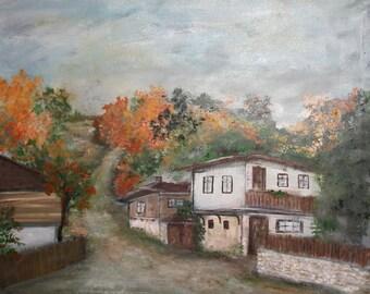 Village landscape oil painting impressionism