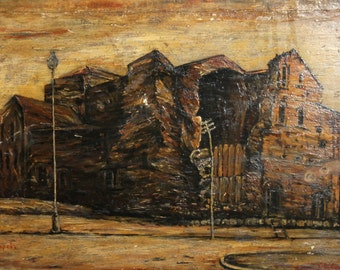 Antique cityscape oil painting signed