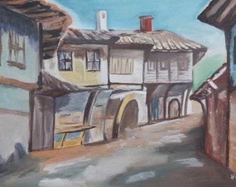1979 Cityscape village gouache painting signed