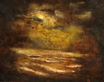 1965 Impressionist night seascape oil painting signed