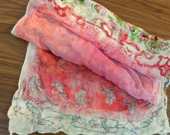 Handmade Stamped + Nuno Felted Scarf