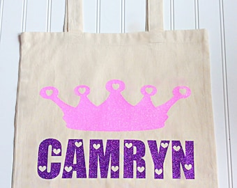 Pink And Purple Glitter Personalized Princess Crown Tote Bag