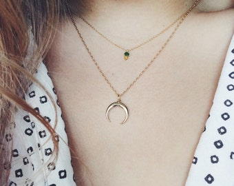 Delicate Moon Necklace on 14k gold fill chain - trendy boho jewelry