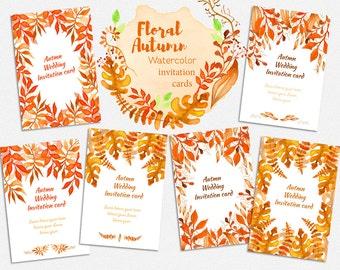 Rustic Fall Wedding Invitations Set | Fall Wedding Invitation Suite Leaves, Falling Leaves Wedding, Autumn Wedding Invitation