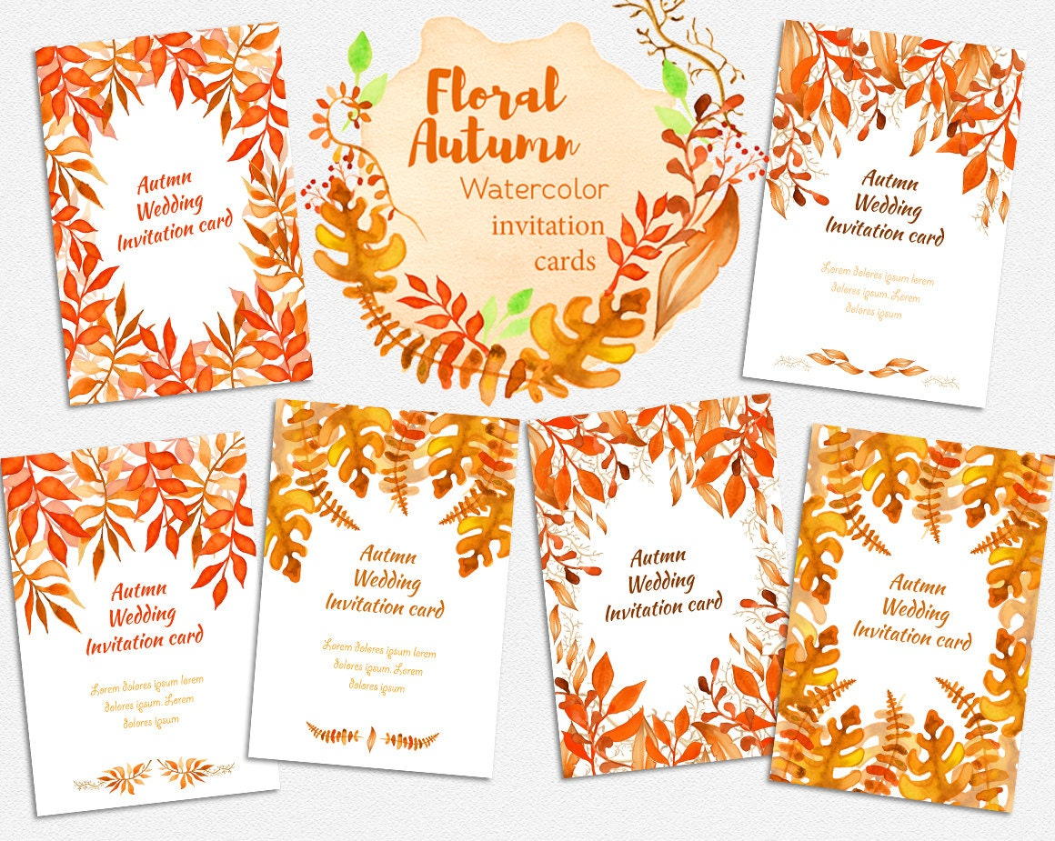 Rustic Fall Wedding Invitations: Rustic Fall Wedding Invitations Set Fall Wedding Invitation