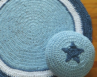 Set of blue rug and pouf, handmaded with care. Nursery and kids decor. Customization is avalaible