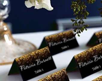 Black and Gold Glitter Wedding PlaceCard, Place Cards, DIY Place Card Printable, code-024