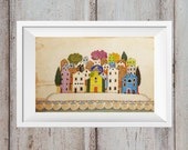 Island, Original etching hand coloured with crayons, Old Dalmatian stone houses, Home decor