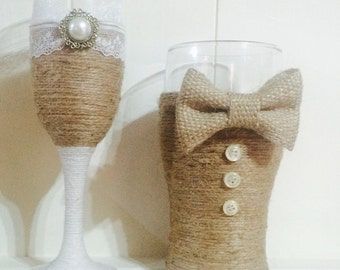 Rustic His and hers matching toasting glasses vintage