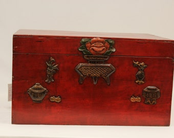 oriental Asian carved TRUNK  floral flower 100 years old embossed from 19TH CENTURY antique color red