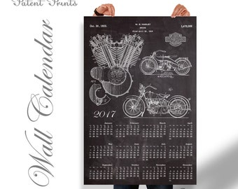 Harley Davidson Engine Patents Calendar 2017, Wall Calendar 2017, Harley Davidson Decor, Harley Davidson Poster, Harley Davidson Motorcycle