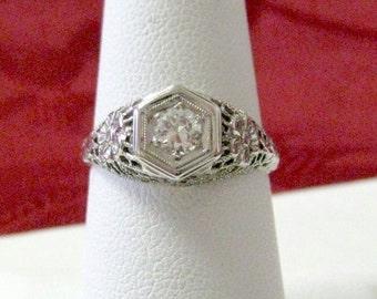 18K White Gold .25 CT Diamond Art Deco Filigree Ring Size 7