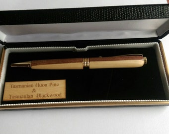 Timber Pen. Made from Tasmanian Huon Pine and Blackwood.