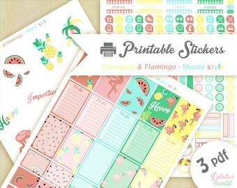 Miami style, flamant rose, Ananas, Pastèque | Printable stickers | 3 pdf | Téléchargement instantané | Planner, Happy planner