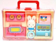 Vintage Plastic Vinyl Japanese Bunny Play Set Kawaii Doll Toy Figurine Japan NOS
