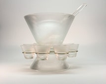 "Vintage punch bowl set- ""Norse"" by Federal Glass"