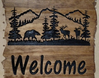 Bear and Elk Welcome Sign