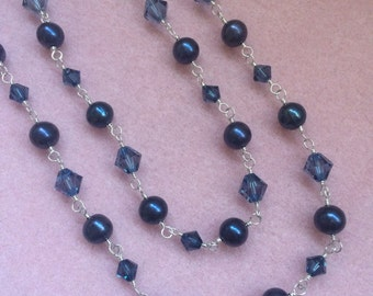 Montana & Denim Blue Swarovski Crystal and Freshwater Pearl Long Wire Wrapped Necklace